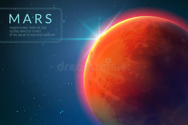 Mars background. Red planet with texture in outer space. Rising sun and mars landscape vector 3d concept stock illustration
