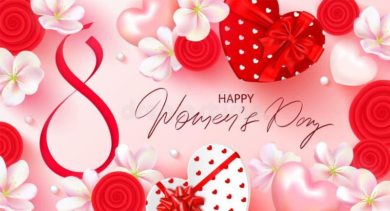 8 mars bannière du jour des femmes heureuses Beau fond avec des fleurs, des coeurs et des boîte-cadeau Illustration de vecteur po illustration de vecteur