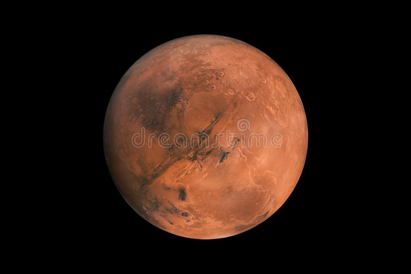 Mars on a black background isolated. red planet mars element for designers. royalty free stock photography