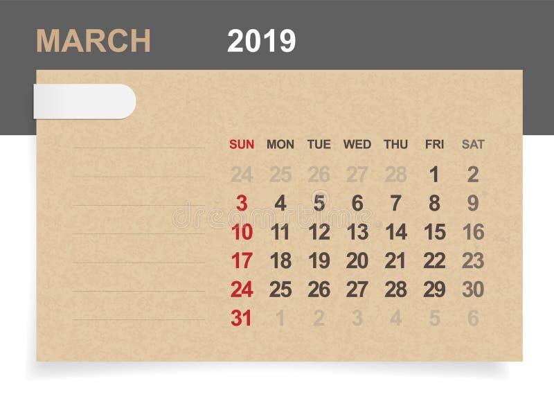 Mars 2019 - calendrier mensuel sur le fond de papier brun et en bois avec le secteur pour la note illustration de vecteur