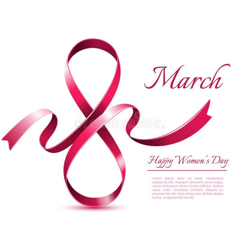 8 mars calibre de fond Carte de voeux du jour de la femme internationale illustration de vecteur
