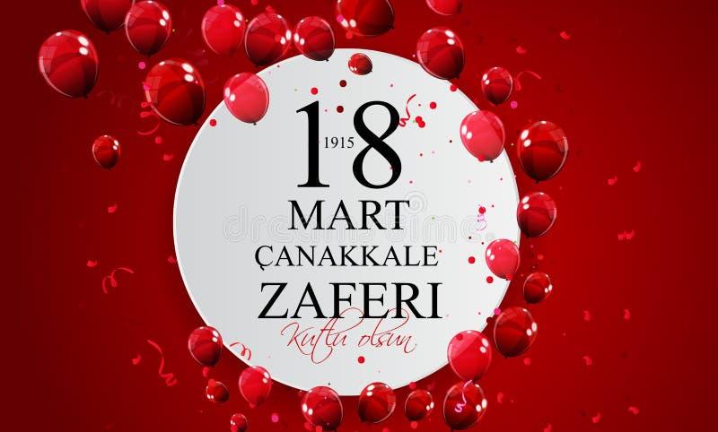 18 mars, Canakkale Victory Day som är turkisk: TR: för canakkalezaferi för 18 marknad för Kutlu Olsun illustration vektor stock illustrationer