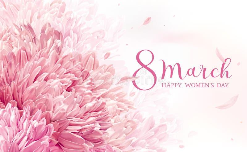 8 mars carte de voeux de fleur illustration stock