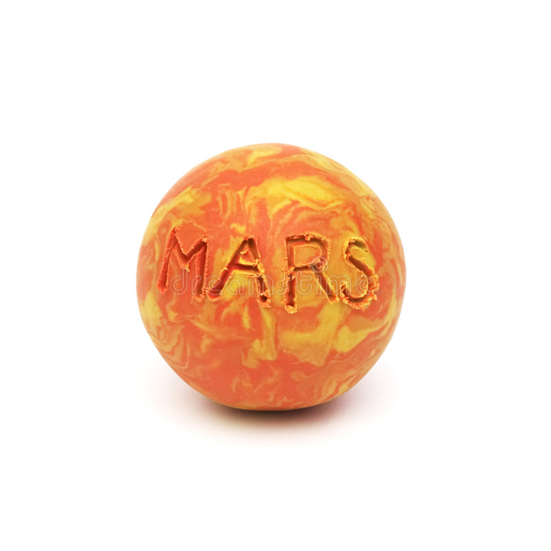 Mars, clay modeling. Ball made from caly royalty free stock image