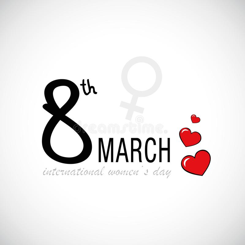 8 mars coeurs rouges du jour des femmes internationales illustration libre de droits