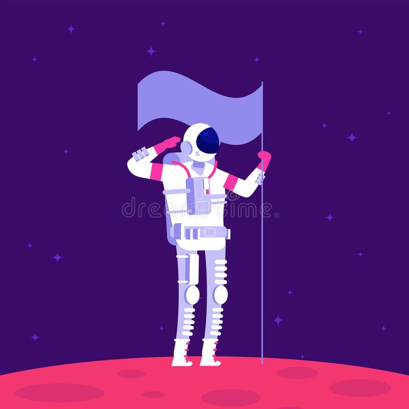 Mars colonization. Astronaut holging flag on red planet in outer space. Mars project astronautics vector concept royalty free illustration