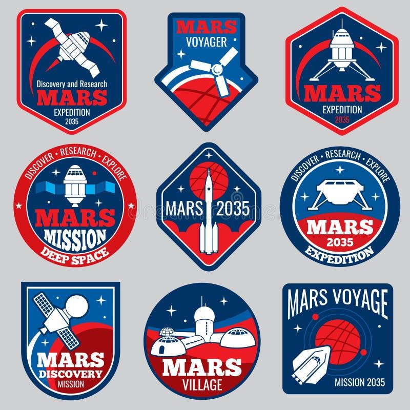 Mars colonization vector retro space logos and labels set vector illustration