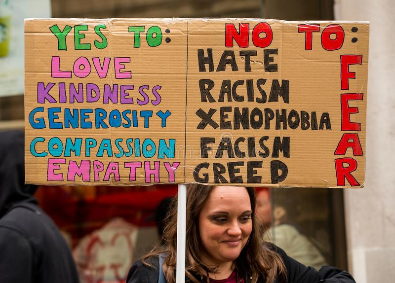 Mars contre le racisme - Londres, R-U photos libres de droits