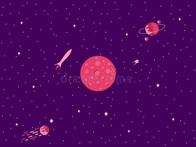 Mars. Cosmic space, a comet with a tail, planets of the solar system. Vector royalty free illustration