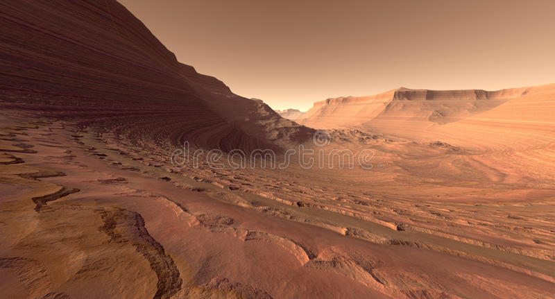 Mars Crater Valley. Crater valley with sculpted buttes on Mars vector illustration