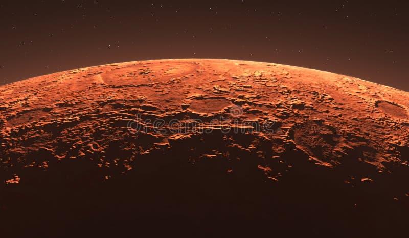 Mars - de Rode Planeet Marsbewoneroppervlakte en stof in de atmosfeer stock illustratie
