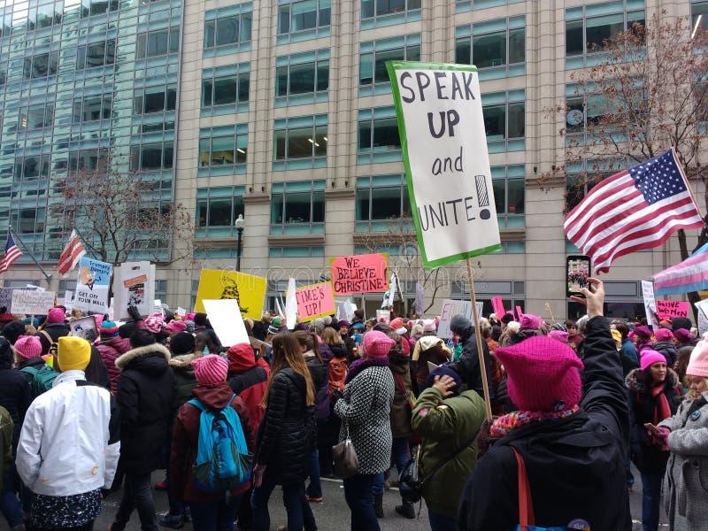 Mars des femmes, parlent et unissent ! , Washington, C.C, Etats-Unis photographie stock