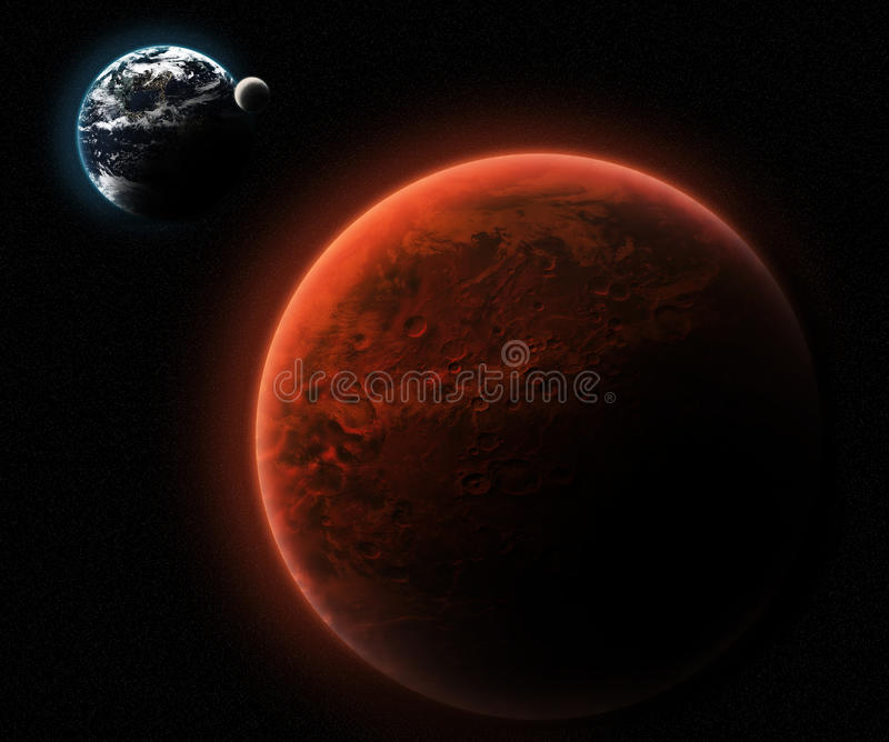 Mars and Earth stock illustration