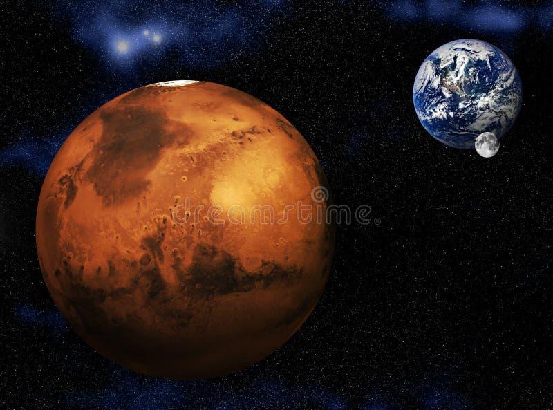 Mars Earth Moon royalty free illustration