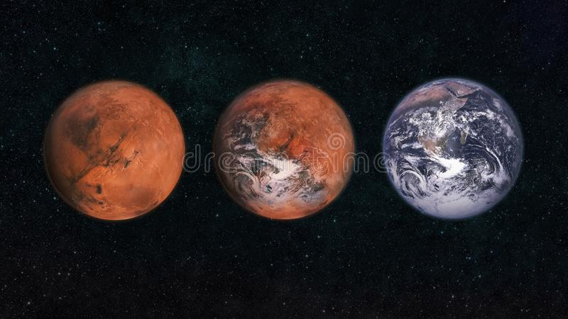 Mars and Earth in space. Transform the planet Mars to the planet earth. Changing of the climate. Concept of a new planet for life. vector illustration