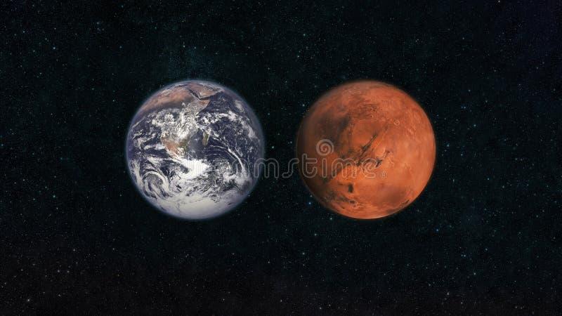 Mars en aarde Planeten van het zonnestelsel in een donkerblauwe sterrige hemel in ruimte Reis naar het concept van Mars royalty-vrije illustratie