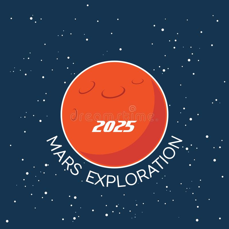 Mars-Erforschungsvektor-Karikaturplakat stock abbildung