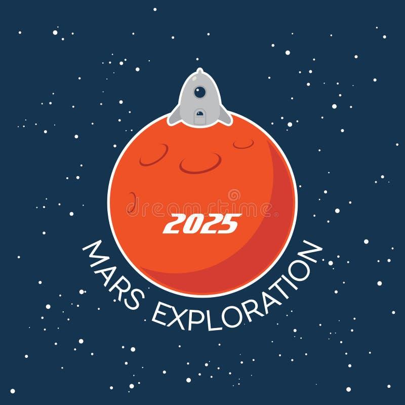 Mars-Erforschungsvektor-Karikaturplakat vektor abbildung