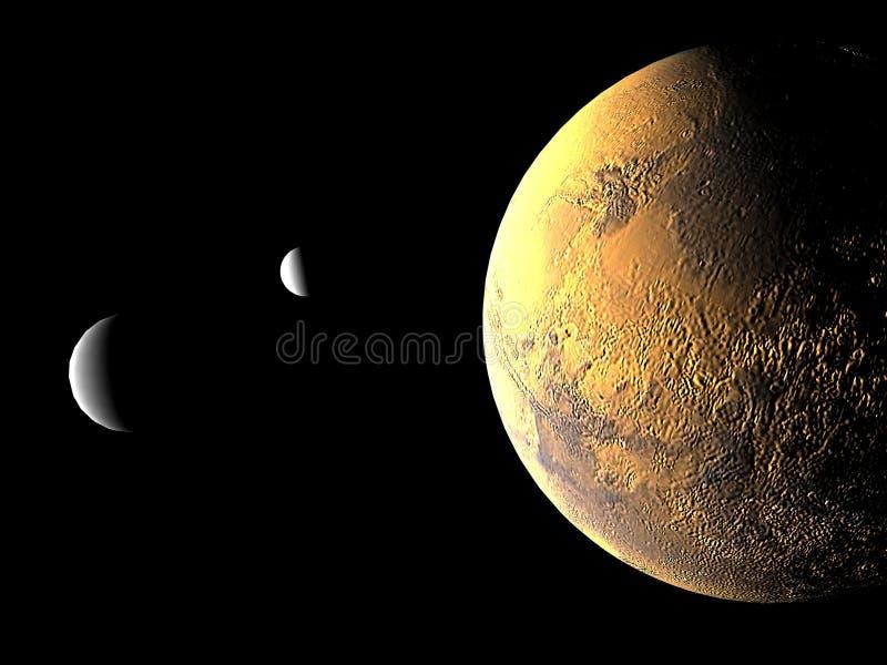 Mars et ses deux lunes illustration de vecteur