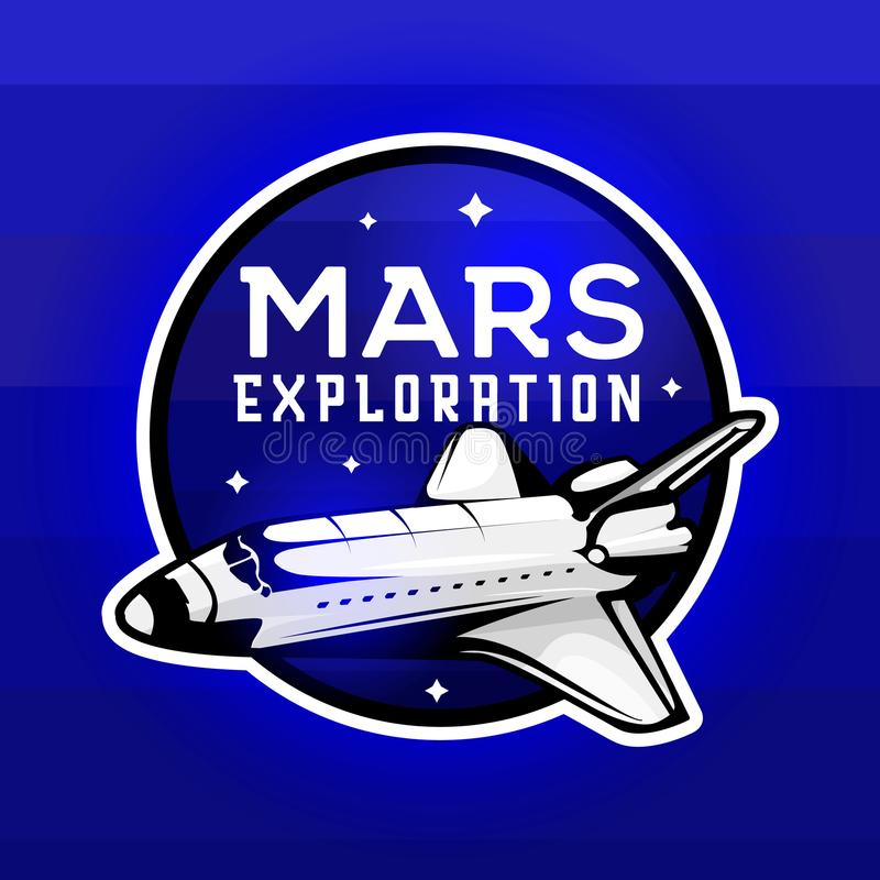 Mars expedition logo concept with space shuttle stock illustration