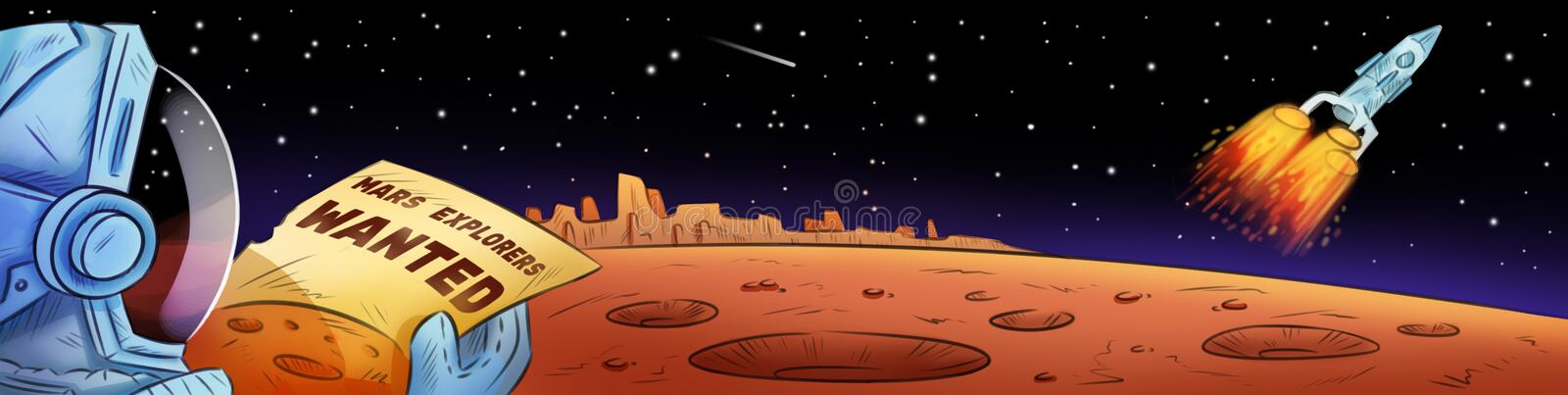 Mars explorers wanted hand drawn comic style cartoon banner. Space exploration, colonization of space royalty free illustration