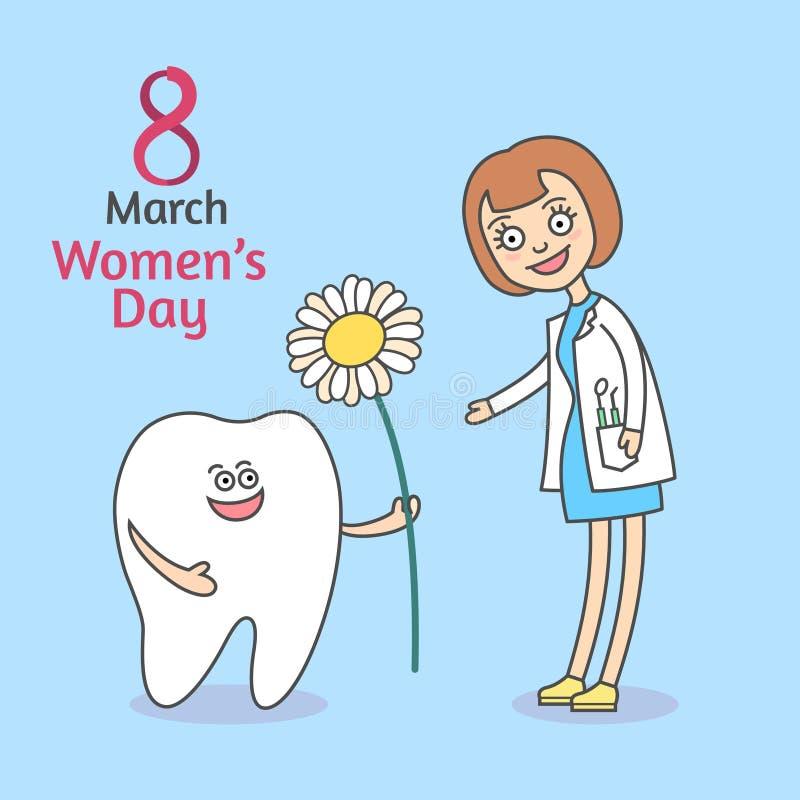 Mars 8 för dag för kvinna` s Tecknad filmtanden som rymmer en blommatusensköna och, ger den till kvinnan royaltyfri illustrationer