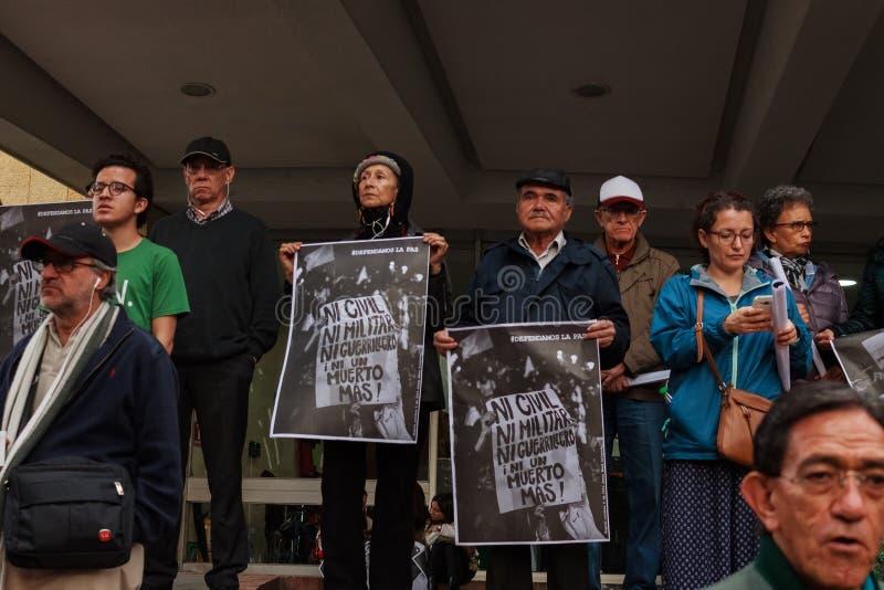 18 Mars 2019 - mars för försvaret av JEPEN, special jurisdiktion för fredBogotà ¡ Colombia royaltyfria foton
