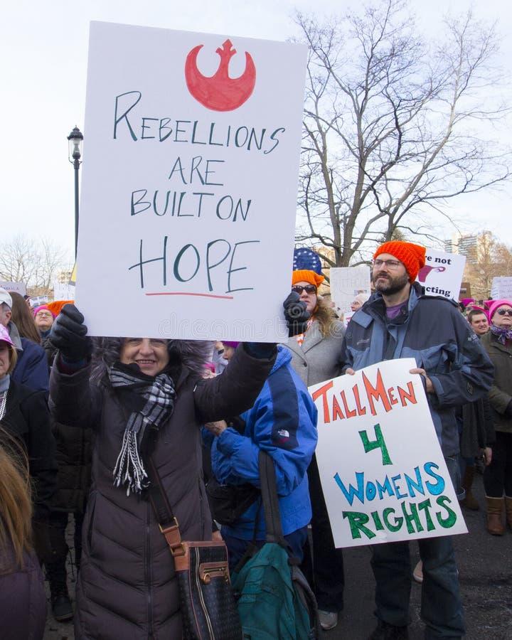 Mars 2018 för Hartford kvinna` s royaltyfri fotografi
