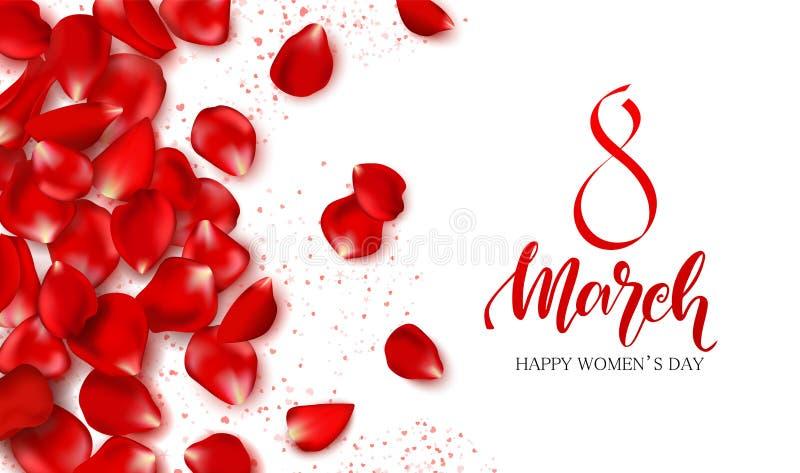 8 mars - festligt kort för lycklig dag för kvinnor s Härlig bakgrund med rosa kronblad också vektor för coreldrawillustration stock illustrationer