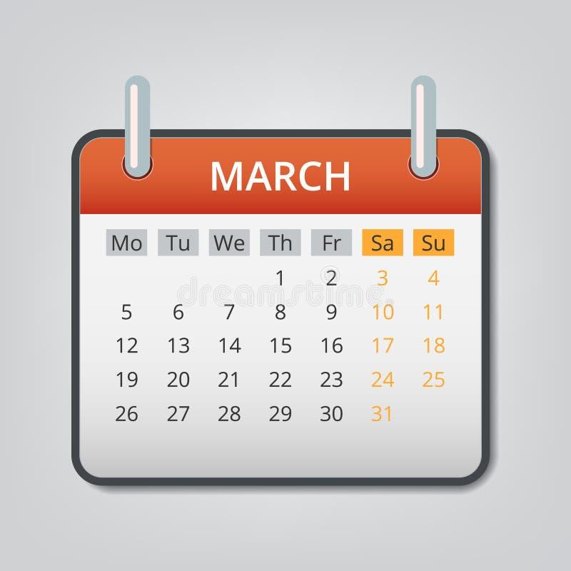 Mars 2018 fond de concept de calendrier, style de bande dessinée illustration de vecteur