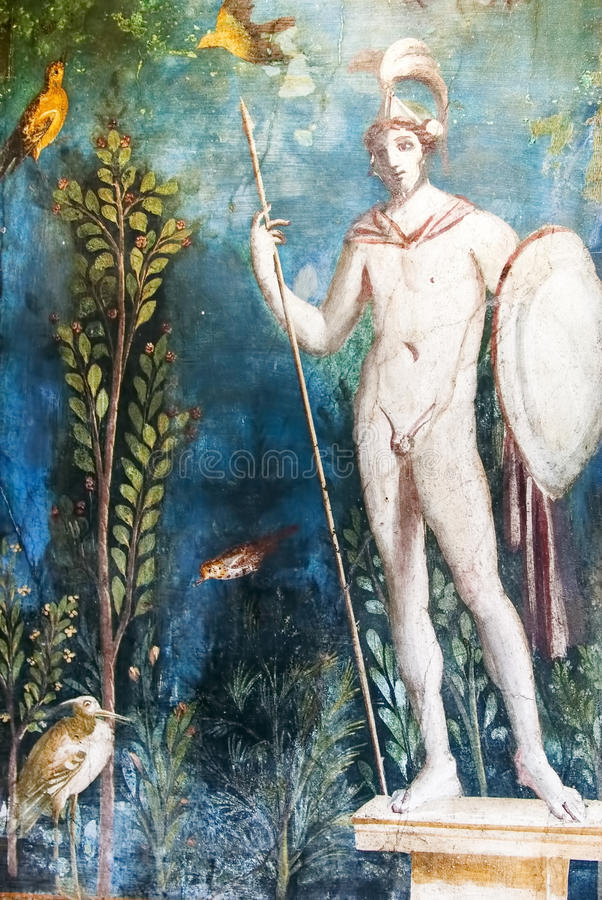 Mars fresco in Pompeii House Italy stock photography