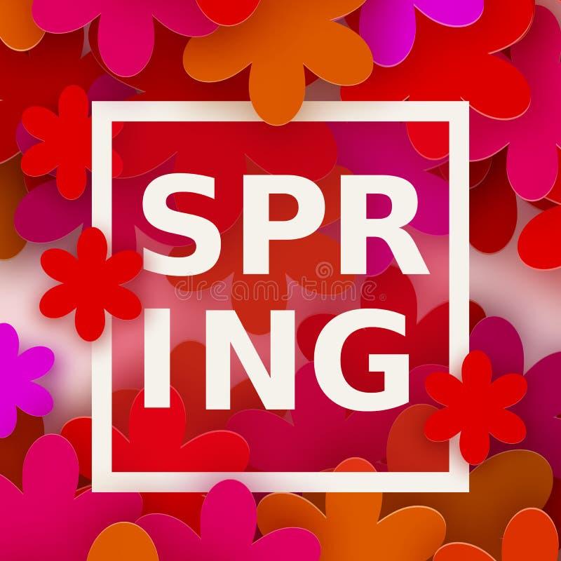 8 mars Härlig blommaram Rött blom- hälsningkort Internationella lyckliga kvinnors dag vektor illustrationer