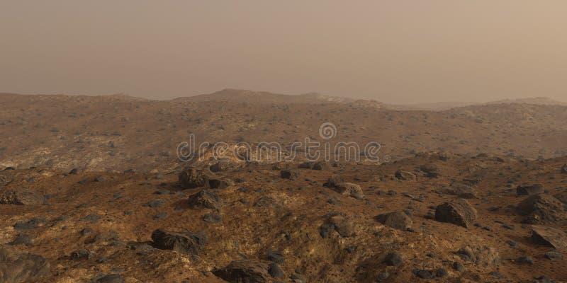 Mars, het rode landschap van de planeetoppervlakte royalty-vrije stock afbeelding
