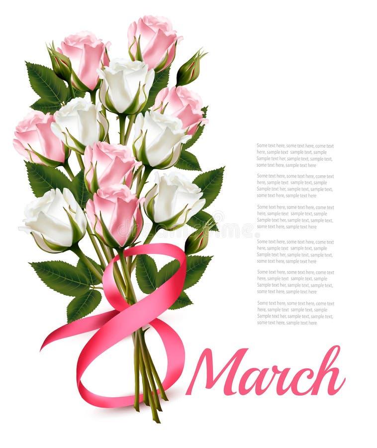8 mars illustration de vintage Bouquet blanc et rose de roses Le VE illustration libre de droits