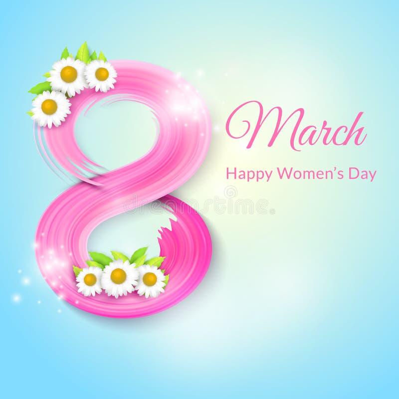 8 mars, internationell dag för kvinna` s greeting lyckligt nytt år för 2007 kort vektor illustrationer