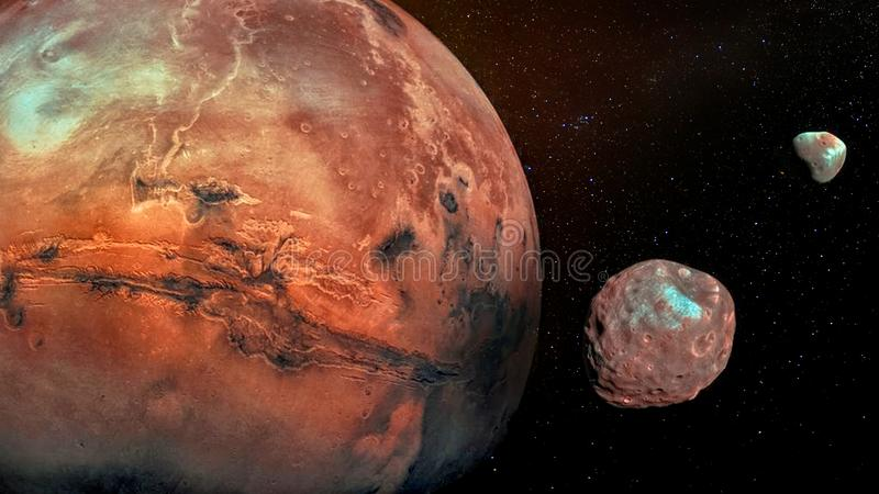 Mars with its two cratered moons Phobos and Deimos. stock image