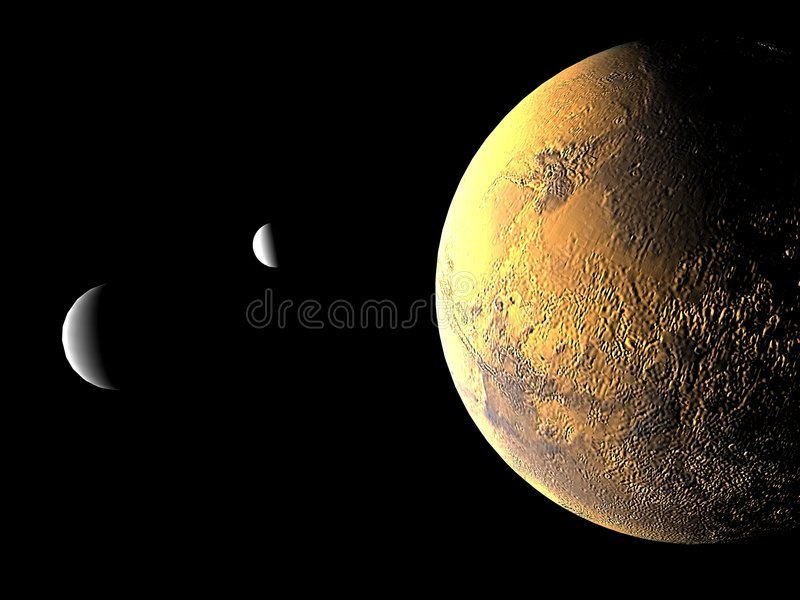 Mars and its two moons vector illustration