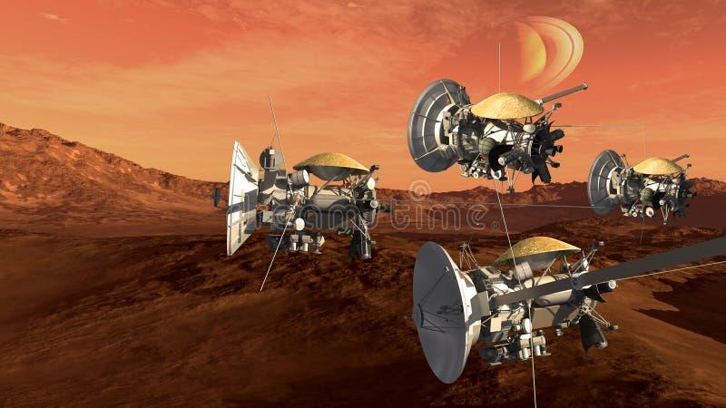Mars jak czerwona planeta z sondami ilustracja wektor