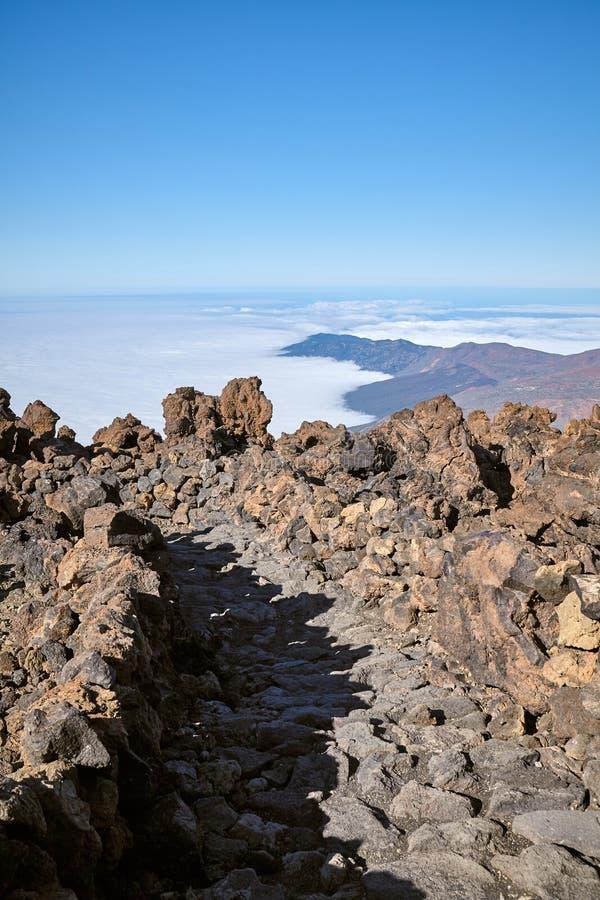 Mars jak krajobraz wulkanu Teide Las Canadas kaldera, Tenerife, Hiszpania fotografia stock