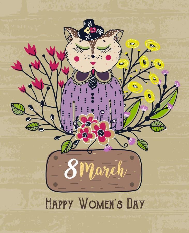 8 mars Jour heureux du ` s de femmes Fond coloré de salutation avec le chat mignon en fleurs Vacances de ressort Croquis d'animal illustration de vecteur