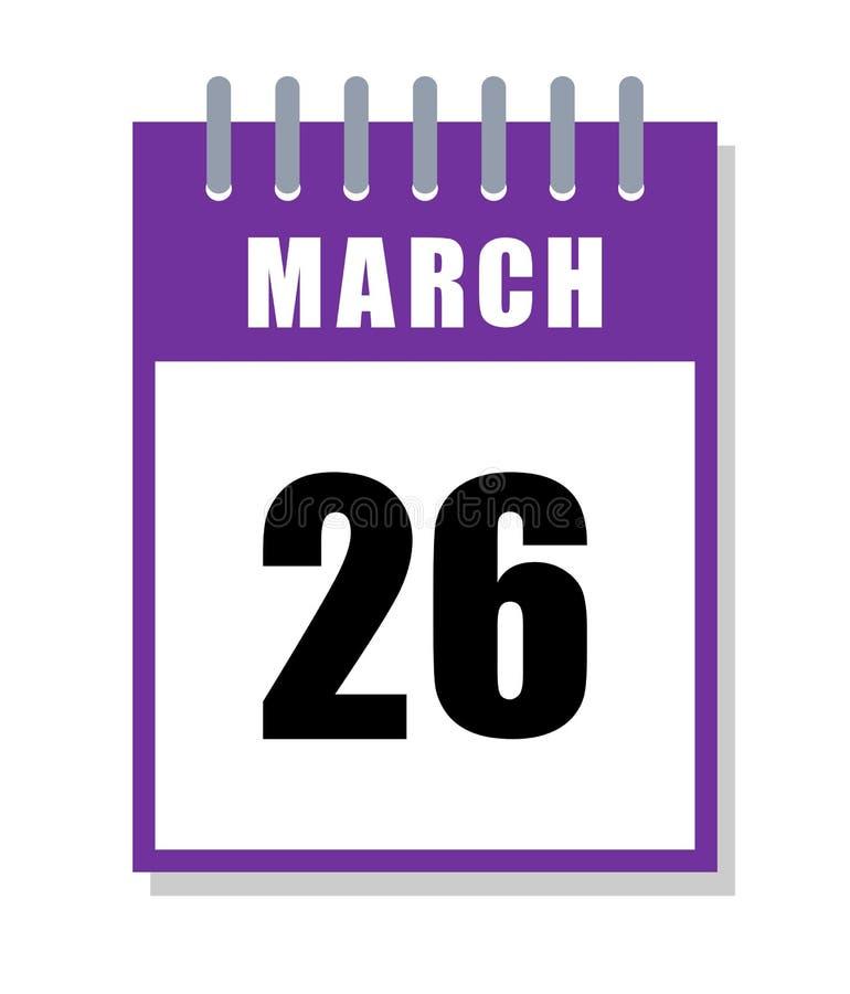 26 mars Jour pourpre Calendrier de jour d'épilepsie du monde d'isolement sur le blanc illustration stock