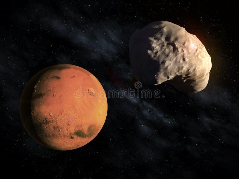 Mars kleinerer Mond Deimos lizenzfreie abbildung