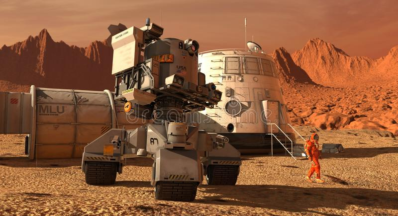 Mars-Kolonie Expedition auf ausländischem Planeten Leben auf Mars Abbildung 3D vektor abbildung