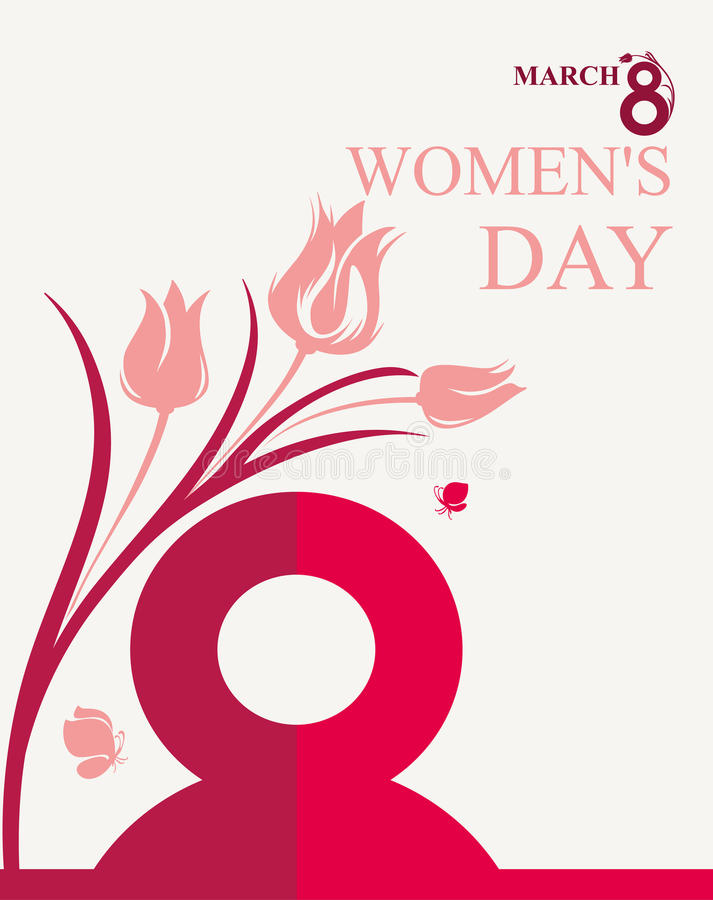Mars 8 Kort för dag för kvinna` s vektor illustrationer