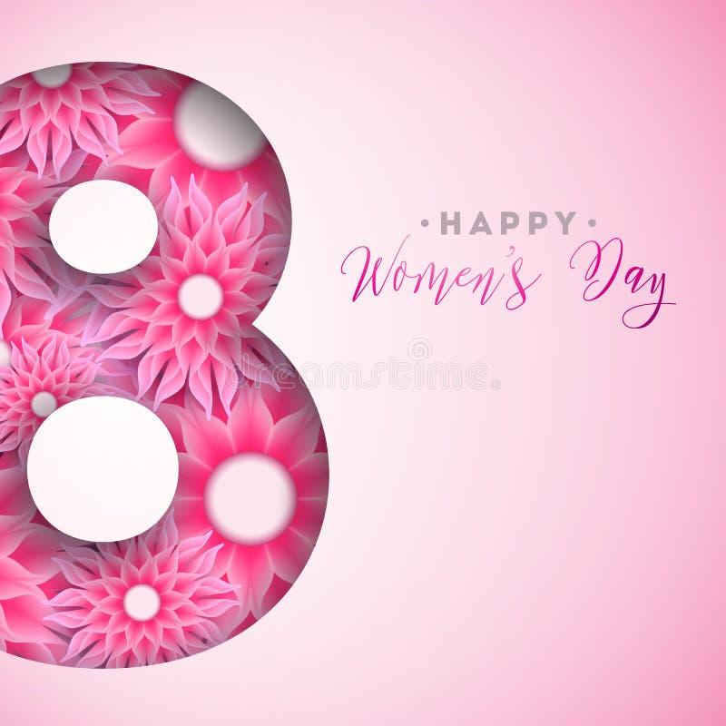 8 mars Kort för hälsning för lycklig dag för kvinna` s blom- Internationell ferieillustration med blommadesign på rosa färger royaltyfri illustrationer