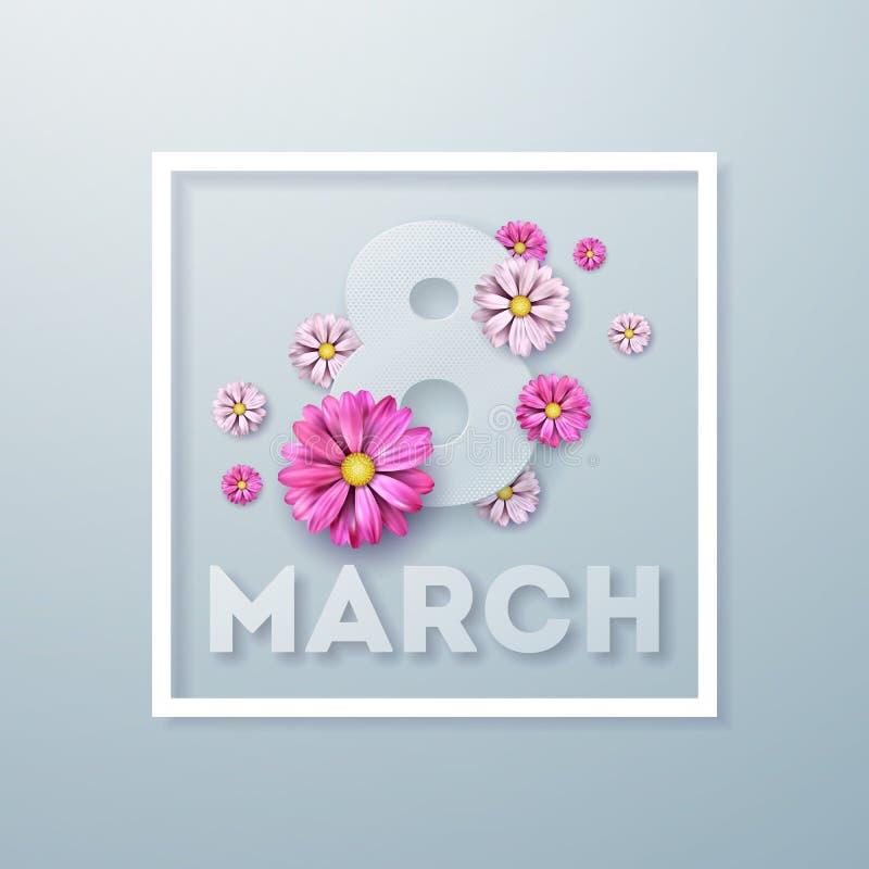 8 mars Kort för hälsning för lyckliga kvinnors dag blom- Internationell ferieillustration med blommadesign på ljus royaltyfri illustrationer