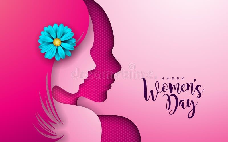 8 mars Kvinnors design för kort för daghälsning med konturn och blomman för ung kvinna Internationell kvinnlig ferie vektor illustrationer