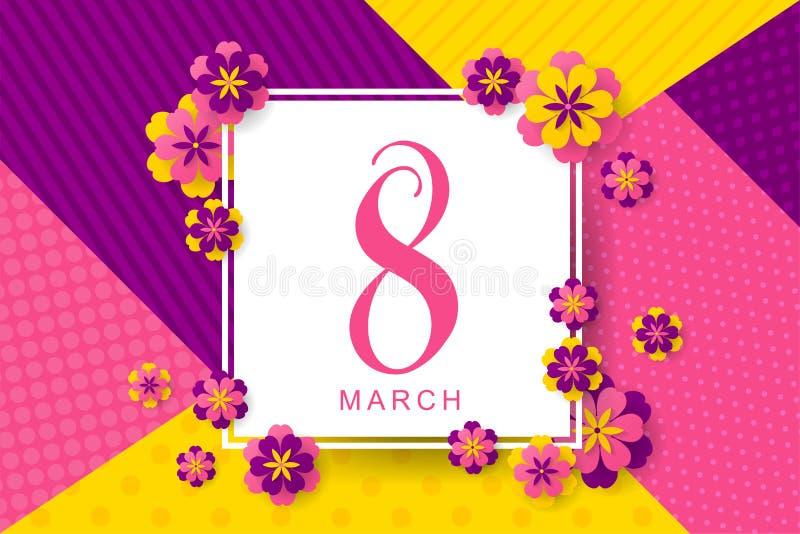 8 mars l'affiche créative avec les fleurs jaunes, roses, pourpres a coupé le franc illustration stock