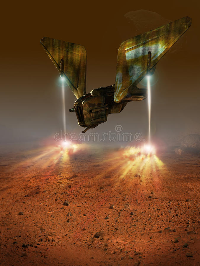 Mars landing. Futuristic spacecraft landing on planet Mars vector illustration