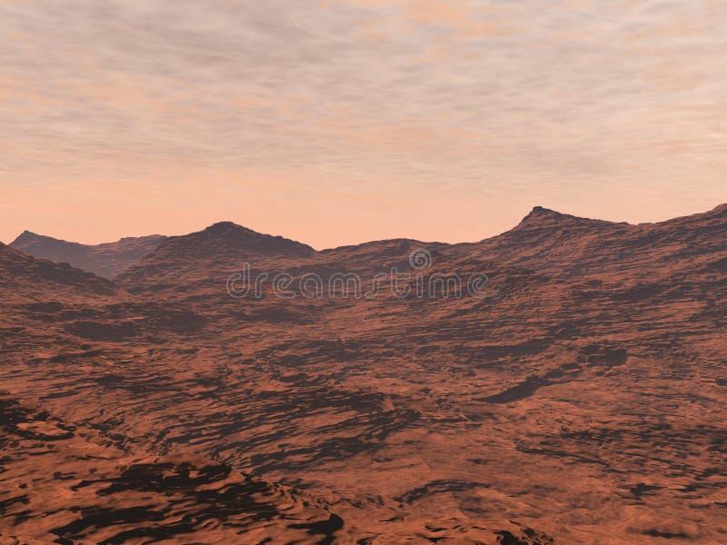 Mars landscape - 3D render. Red desert and clouds to illustrate Mars landscape vector illustration